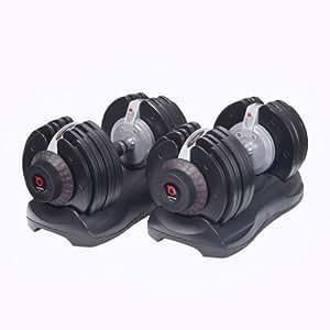 DialTech Hantelsystem von 5 bis 32,5 kg, schnell verstellbar und platzsparend, Anti-Rutsch-Griff, 12 Hanteln in 1, Lieferumfang: 2 Hanteln und 2 Ablageschalen