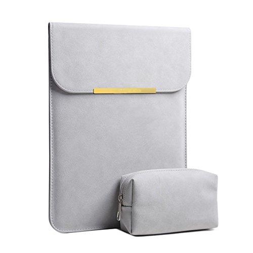 Wildleder wasserdicht Notebook-tasche Mit kleinaufbewahrung pouch case,Portable notebook geschäftsfall kompatibel 12-15.6-zoll-laptop-Grau E 14Zoll Tasche Pouch Case
