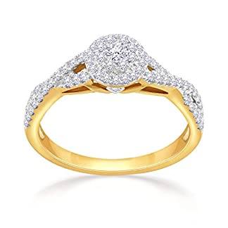 Malabar Gold and Diamonds 18KT Yellow Gold and Solitaire Ring for Women