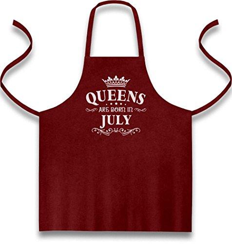 k für Juli - Queens Kochschürze, Grillschürze, Latzschürze One Size Bordeaux (Her Von Juli T-shirts)