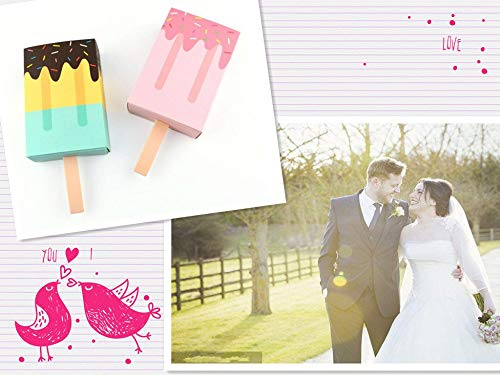 50 PCS DIY nette eis form geschenk candy box favor boxen Popsicle Süßigkeiten Klapp Papier Box Für Baby dusche kinder Partei Liefert