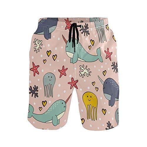 BONIPE Herren Badehose süße Cartoon-Delfin-Sestern-Herz-Dot schnell trocknende Boardshorts mit Kordelzug und Taschen Gr. XXL, Mehrfarbig