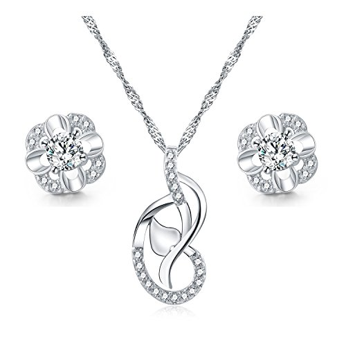 Majesto - 925 Sterling Silver Knot Pendant Necklace Crystal Stud Earrings Jewelry Set for Women Teen Girls Gift
