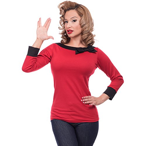Steady Clothing Damen Retro Bluse mit Schleife - Solid Boatneck Rockabilly Oberteil 3/4 Arm Rot XL -