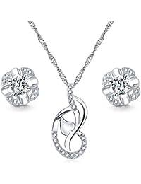 b201065ad4d0 Majesto Juego de Joyas - 925 Plata esterlina Conjunto Colgante de Collar y Pendientes  corazón Amor