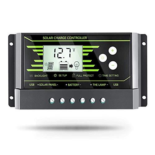 PowMr 30A Solar-Laderegler, Solarmodul, Ladekontroller, 12 V, 24 V, Dual-USB, einstellbare Parameter, Hintergrundbeleuchtung, LCD-Display und Timer-Einstellung (Z30A)