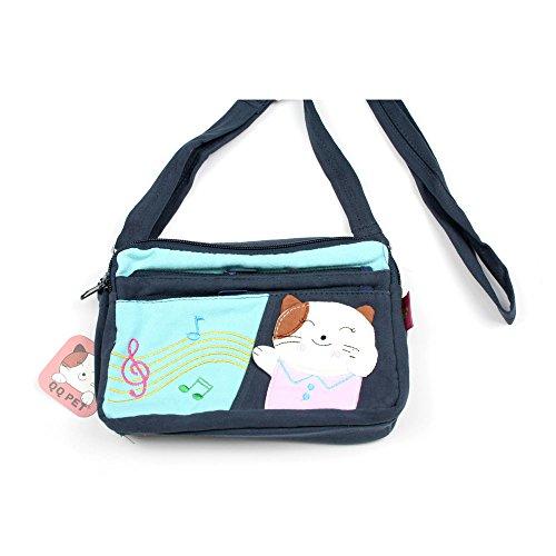 Kleine Umhängetasche Kosmetiktasche für Kinder mit Katze und Noten (dunkelblau) dunkelblau