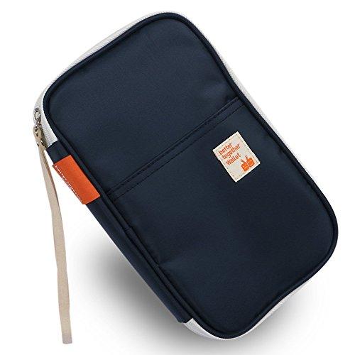 G2PLUS Passport Wallets Organizer Durable Waterproof Travel Wallet Purse with Hand Strap Zip Closure Document Organizer Passport Ticket Credit ID card Cash Holder Case (Model 1 Dark Blue)