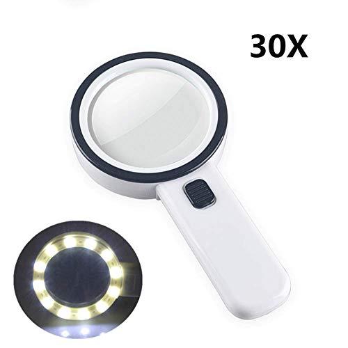 Lente dingrandimento manuale Lente dingrandimento con luce ottica 30x ad alto ingrandimento Lente in vetro HD Lente dingrandimento portatile for anziani Visione bassa Libri Pagine Pagine Riviste G
