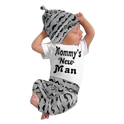 Babykleidung Satz, QinMM Neugeborenes Baby Mädchen Jungen Niedlich Wolken Druck Lange Ärmel T-Shirt Tops + Hosen Ausstattungs Kleidung Satz (0-18Monate) (6M, Weiß B) (Neugeborenen Ausstattung)