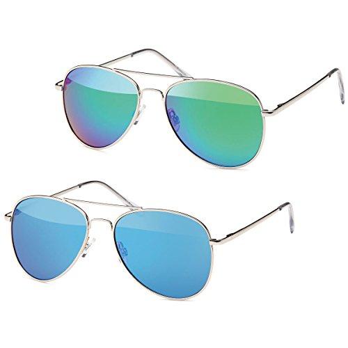 2x Sonnenbrille Pilotenbrille Aviator Unisex Klassiker Sonnen Brille SB-PL15 (grün-blau)