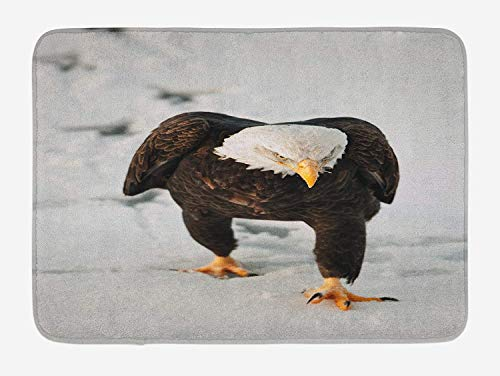 tgyew Eagle Bath Mat, Majestic Bird Walking on The Snow and Leaving Traces Looking for Prey, Plush Bathroom Decor Mat with Non Slip Backing, 23.6 W X 15.7 W Inches, Dark Brown Coconut Apricot Fiesta Apricot