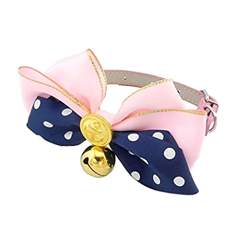 Ranphy Petit Chien/Chat Strass simili cuir Bowknot Collier réglable Collier pour chat avec Bell