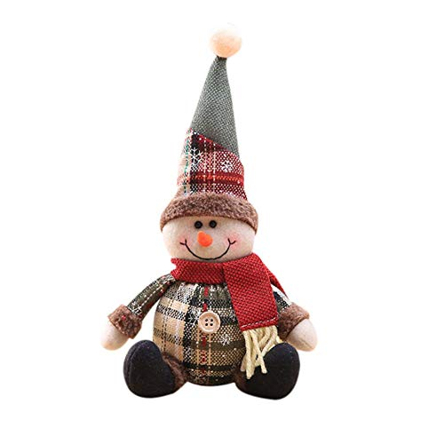 Wokee Weihnachten Schneemann Ornament Festival Party Table Decor Puppe Elf Liebenswürdig,Schnee Plaid Tuch sitzende Puppe des alten Mannes Plüsch Deco (C) -