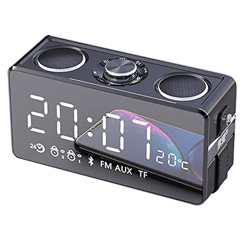 Drahtloser Bluetooth-Lautsprecher Mit LED Tragbar Mini Autoradio-Lautsprecher 4.2 Musik-Box 25w Dual-Laufwerk + Verbesserter Bass + Uhr FüR Outdoor-Reisen Nach Hause Rotgold
