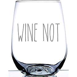 Ouniaodao-Glass Laserware Wine Not Divertido Vaso de Vino de Cristal sin Tallo de 15 onzas, Divertidos Vasos de Vino con Frases de Regalo