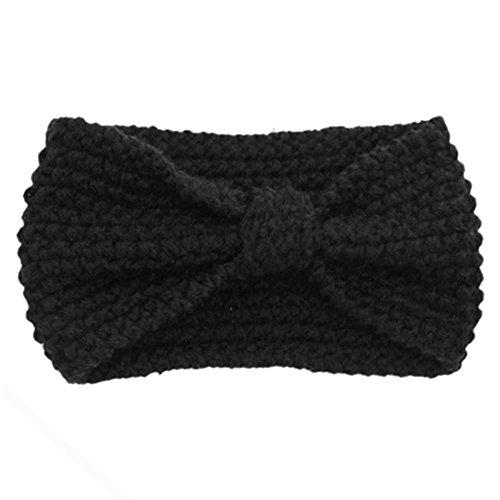 Sanwood Damen Häkelarbeit Schleife Design Stirnband Winter Kopfband Haarband (Schwarz)