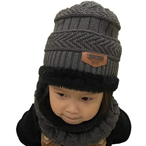 UMIPUBO Kinder Schal und Hut Set Babymütze Beanie Hüte Schal Plüsch Warme Dicke Knit Hut Woll Schal Mützen für Jungen Mädchen (Grau) - Plüsch-schals