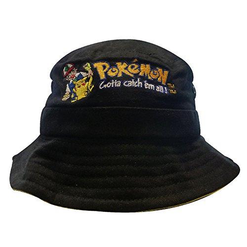 Imagen de nintendo original pokémon | gorro |  | fishing hat | bucket hat | niños | 56cm | 100% algodón | cenizas y pikachu embroidery | negro alternativa