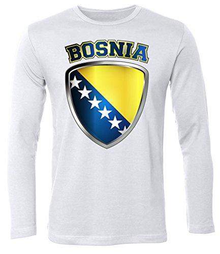FOOTBALL WORLD CUP - EUROPEAN CHAMPIONSHIP - BOSNIA FANSHIRT Uomo manica Lunga Maglietta Taglia S to XXL vari colori S-XXL White