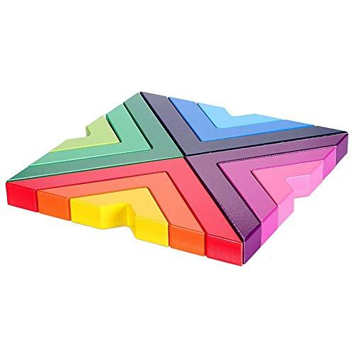 XZANTE Hölzerner Regenbogen Stacking Spiel Stacker Geometrie Bausteine Verschachtelung Lernspielzeug Kinder Kleinkinder (Wii, Kleinkind, Lernen, Spielen)