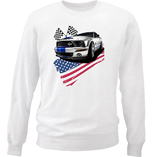 TEESANDENGINES Men's FORD MUSTANG GT 1 White Sweatshirt