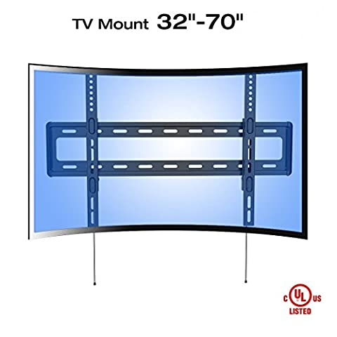 Fleximounts R1 Curved Panel UHD HD Fixed TV Wall Mount Bracket for most of 32-70 Inches LED, LCD, Plasma, OLED TVs (for both flat panel and curved panel