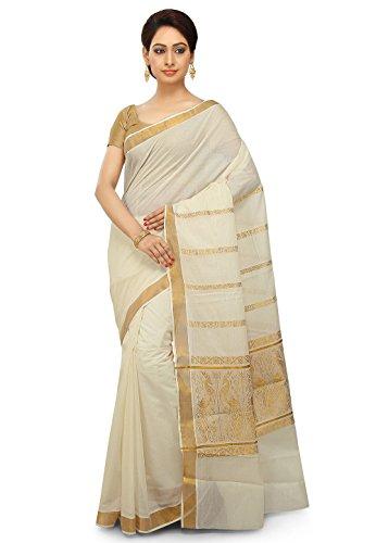selvamani tex cotton kerala kasavu zari saree with running blouse