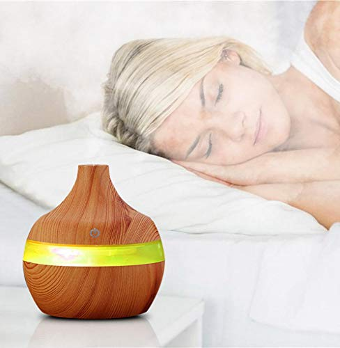 Tomatoa Luftbefeuchter Mini Farbwechsler elektrische Duftlampe Aroma Diffuser Holzmaserung, 300 ml Ultraschall-luftbefeuchter Luftreiniger LED Ätherisches Öl Diffusor 7 Farbwechsel