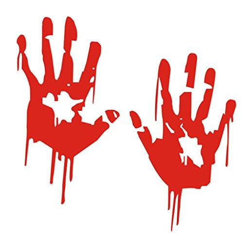 y Bloody Hand Aufkleber Aufkleber für Fahrzeuge Wasserdicht gut lichtbeständig Fenster Wand Aufkleber für Home Badezimmer Büro Wohnheim Store gessppo-Rot ()