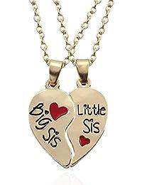 1d4b0224b6c4 Dos collares - Corazón dividido en dos piezas - Hermanita grande - Hermana  baja Hermana mayor