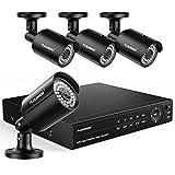 FLOUREON DVR Kit Videosorveglianza Sistema Telecamera di Sicurezza 8CH CCTV DVR 6 in 1 HD 1080P XVI Rilevamento di Persone Allarme di Movimento Accesso Remoto Senza HDD