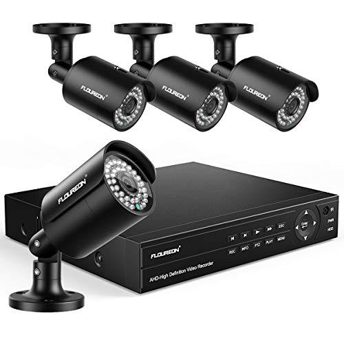 FLOUREON DVR 8CH Système de Surveillance 6-en-1 Système de Caméra de Sécurité et 4X HD 1080P XVI CCTV Caméra Extérieur avec Détection Humaine Alerte de Mouvement Aucun HDD