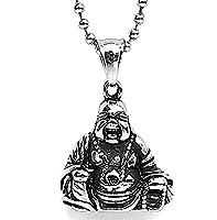Epinki Stainless Steel Pendant Necklace, Mens Vintage Punk Rock Silver Black Buddha Buddhismus Necklace