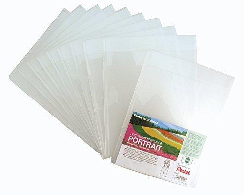 Pentel DCD64T Recycology Dokumenten-Umschlag Portrait aus 50% recyceltem PP, A4, Hochformat, 10 Stück, transparent
