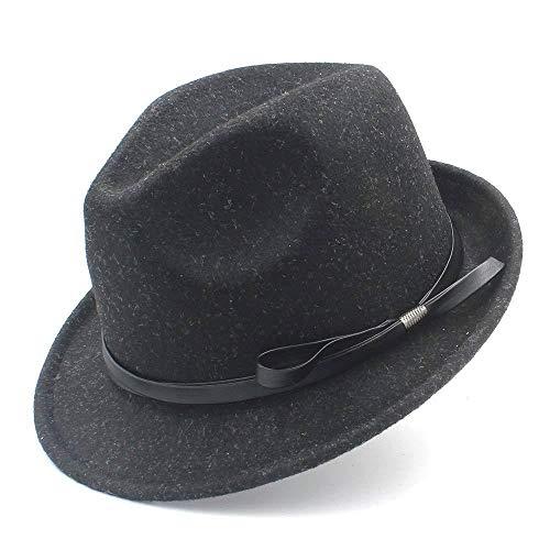 GZ Frauen Männer Gangster Fedora Hut Für Elegante Dame Gentleman Trilby Fühlte Homburg Church Jazz Hut Mit Mode Leder,Schwarz,57-58 cm