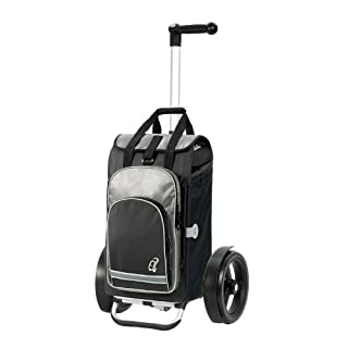 Andersen Shopping trolley Tura with bag Hydro black, Volume 60L, thermal bag, ball-bearing wheels, ergonomic 3-position handle and aluminium frame