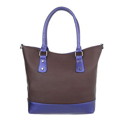 iTal-dEsiGn Damentasche Mittelgroße Schultertasche Handtasche Kunstleder TA-K630 Braun Blau
