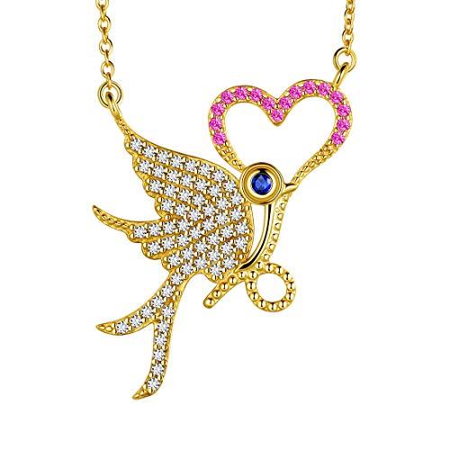 AuroraTears Phoenix Halskette Choker 925 Sterling Silber Vogel Anhänger vergoldet Herz Charm Schmuck Geschenke für Frauen und Mädchen DP0197Y