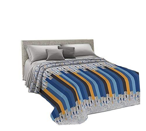 Il gruppone copriletto estivo made in italy 100% cotone singolo matrimoniale piquet matitoni - blu - singolo