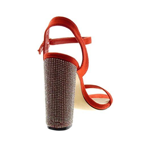 Angkorly Scarpe Moda Sandali Scarpe Decollete con Cinturino Alla Caviglia Donna Strass Tanga Tacco a Blocco Alto 12 cm Rosso