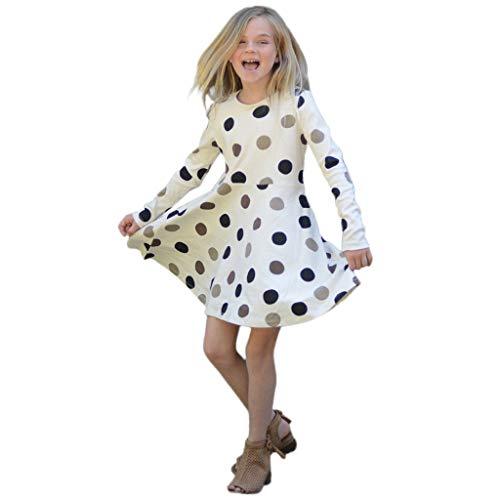 Proumy Mädchen Ferien Club Stil Frauen Punkte Print Vintage Kleid Sommer Party Dance Dating Schlank Langarm Kleider Rock Dirndl(Blau,Recommended Age:2-3 Years) -