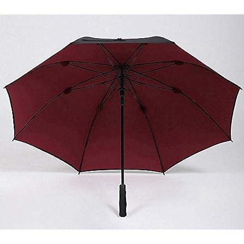 KHSKX Doppio ombrello, uomini con manico lungo ombrello automatico oversize, doppio portatile, robusto e dritto nero ombrello antivento ombrello femmina gentiluomo