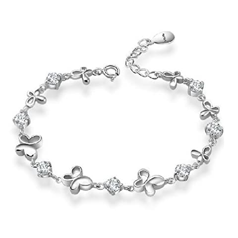 Rarelove Platinum White Gold Plated Sterling Silver 925 Bracelet Women Cz Crystal Butterfly Elegant Fashion Girl Hand Chain authentic Jewelry Accessory for