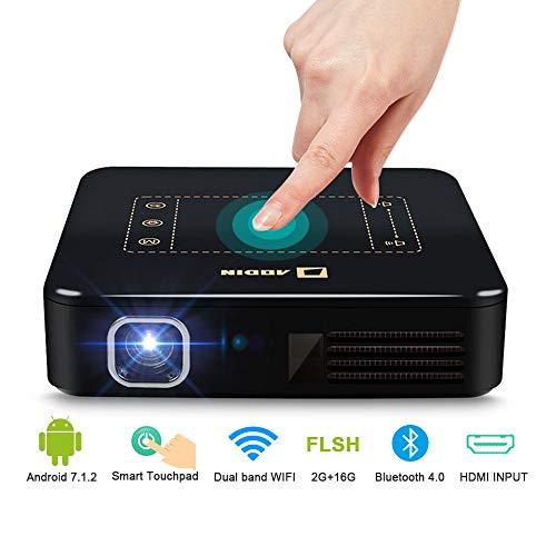 Aodin D13 Mini Proiettore - Android 7.1 Portatile Proiettore 200 ANSI Lumens - Proiettori Video DLP Touch-Pad con RAM da 2 GB - con Ingresso HDMI Bluetooth WiFi - Ottimo per l'Home Cinema (Nero)