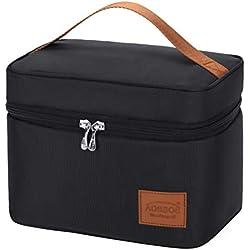 Kühltasche Klein Leicht Lunch Tasche Isoliertasche zur Arbeit Schule Faltbar Wasserdicht Reißverschluss Schwarz 6,5L