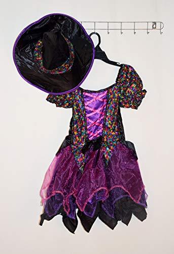 ASJUNQ Hexe Kostüm Halloween Rock Niedliche Kleine Hexe Hut Cosplay Kleid Kinder ShowThema Party Movie Requisiten,B-130cm
