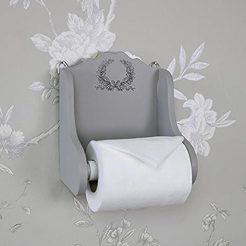Grey Wooden Vintage Laurel Leaf Toilet Roll
