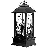Halloween decoration Lanterne, ambrée à flamme Lampe avec pile bouton, lanterne à suspendre exterieur ideal pour deco Halloween fête