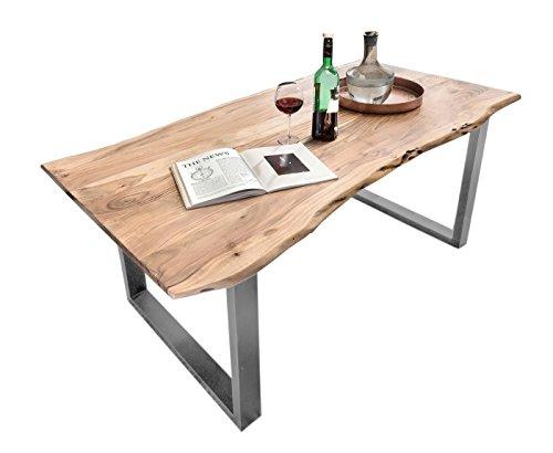 SIT-Möbel Table de Bar en Acacia Naturel avec Plateau en métal et Plateau en métal 220 x 100 x 78 cm et Structure en Argent Vieilli 7123-01 + 7112-40 Épaisseur du Plateau 5,6 cm